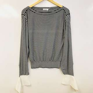 Chloe black and white stripe blouse top size S