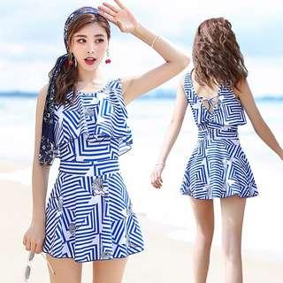 連身泳衣裙 藍白 Swimsuit