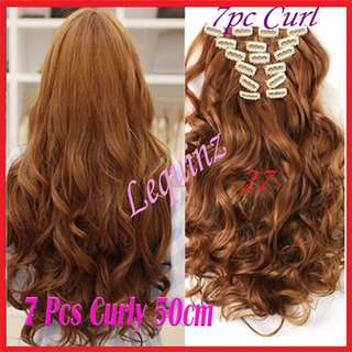 7pcs Set Hair Extensions Curly Wavy Golden Caramel 27