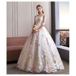 Illusion Mid-Length Sleeve Wedding Dress (2-3 weeks to deliver)