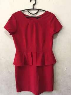 Long Dress Merah Office