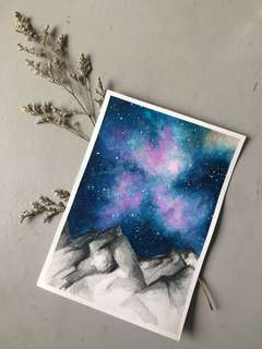 Galaxy Mountain Handmade Painting
