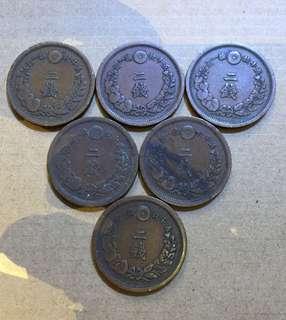 日本 明治年 二錢 大銅幣 6個。年份不同