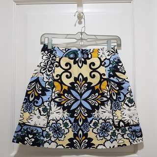 ZARA Yellow Blue Printed Floral Mini Skirt