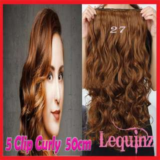 5clips Hair Extensions 50cm Curly Golden Caramel 27