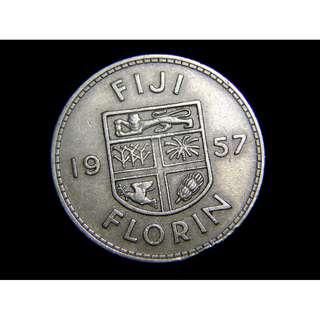 1957年英屬菲濟群島(British Fiji)殖民徽2科連(Florin)鎳幣(英女皇伊莉莎伯二世像)