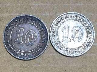 1899 及 1900年 海峽殖民地 10 cents 銀幣 維多利亞女皇