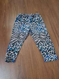 PL cotton long pants leggings animal print blue size 1