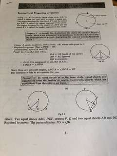 Circle properties notes for olevel with practice and answer key
