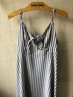 Blue striped flowy tie dress