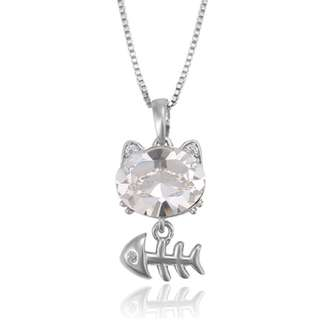 Lovely Crystal Cat with Fishbone Pendant Necklace (White)