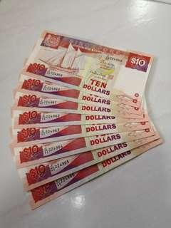 8 pieces of ship $10 old notes (PALARI)
