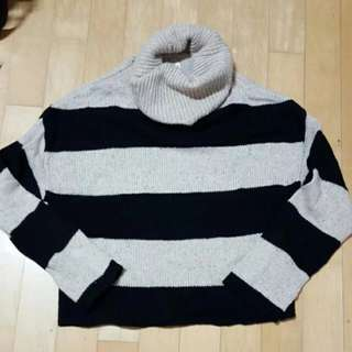 Black & White Striped Bershka Knit Turtleneck Sweater