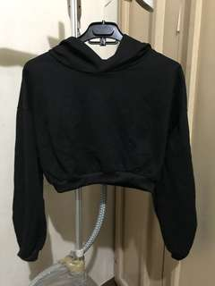 Crop top sweater with hoodie