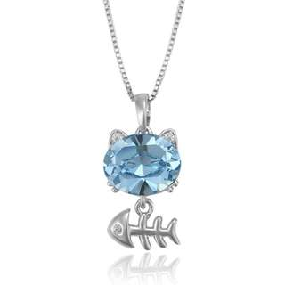 Lovely Crystal Cat with Fishbone Pendant Necklace (Light Blue)