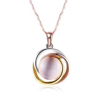 Elegant Three Tone Cat Eye Stone Pendant with Rose Gold Plated Chain