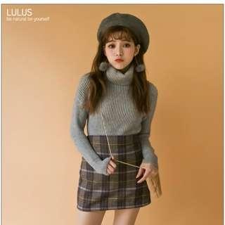 全新轉賣 lulu's 格紋A字裙 短裙 格子短裙 格子窄裙 學院風短裙