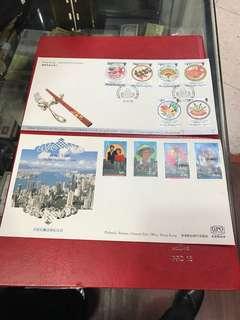 皇子訪港和國際美食紀念封2個共售:4O元.