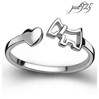 S925 Sterling Silver Dog Puppy Ring