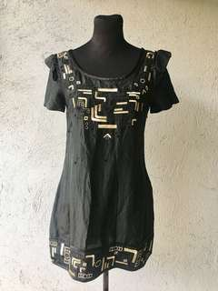 Black Dress with Gold Detail