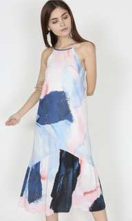 MDS Pleated Halter Dress in Pastel Print