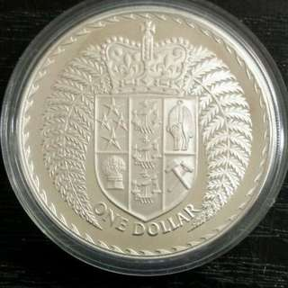 1979 New Zealand one dollar $1 silver proof coin NZ
