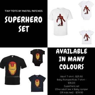 Marvel Ironman Thor infinity war t-shirt romper set