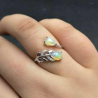 Feather Gemstone Ring with Natural Opal For Women