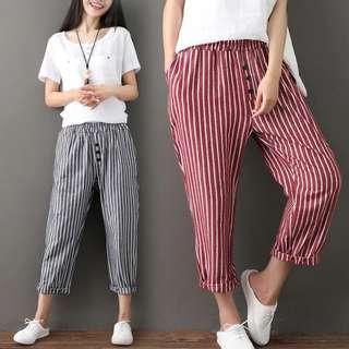 (M~2XL) Cotton pants female summer new Harlan wide leg radish pants pants linen pants