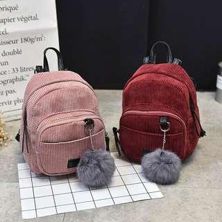 Suede sling backpack korean style