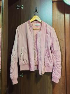millennial pink stradivarius bomber jacket