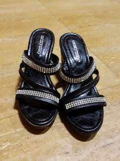 OFFER! Black Diamonte Wedges