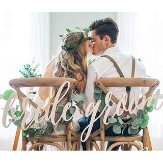 {PO} Bride & Groom Wedding ROM Decorations Chair Sign