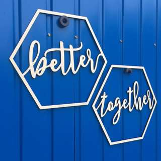 {PO} Better Together Calligraphy Wooden Cut out Signage Wedding ROM