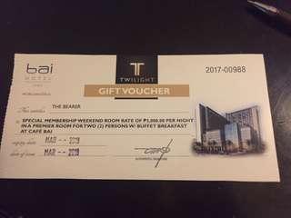 Bai hotel premier room for 2 with breakfast voucher