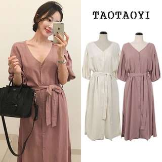 (S~XL) 2018 Vintage V-neck lace waist cotton dress puff sleeves single-breasted long skirt