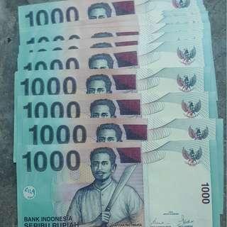 uang kertas 1000 rupiah edisi tahun 2000