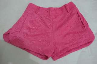 Embroidery hot pink pants