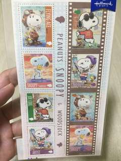Snoopy & Woodstock stamp stickers