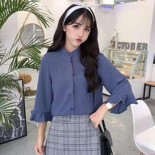 #508 Mandarin Collar Button Up Bell Sleeve Blouse (PO)