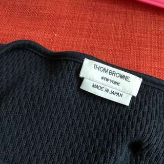 Thom Browne honeycomb knit Henley tee