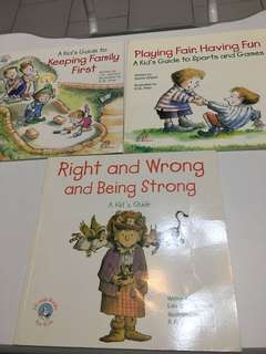 Children's books with tips on playing fair, having fun, being right and wrong etc.