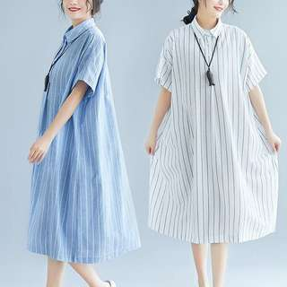 Plus Size Summer Long Cotton Vertical Striped Shirt Collar Loose Short Sleeve Dress