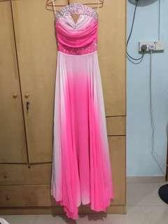 BNWT Grown / long dress / pink / white / crystal / bink bink