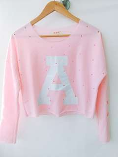 Pastel pink long sleeve crop top #20under