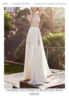 White Evening Backless Dinner Dress