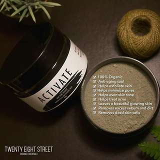 28street Activate, Bamboo Charcoal, Brighten Face Mask