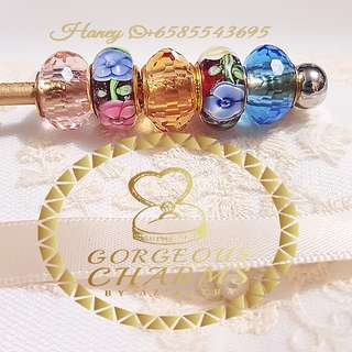 (PROMOTION)Colour Full Murano Glass 916 Gold Charms