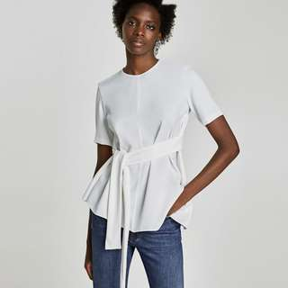 zara white asymmetrical top with bow detail