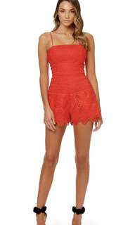 Kookai Red Lace Playsuit